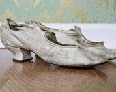 SALE / 1910s white heels / victorian wedding shoes