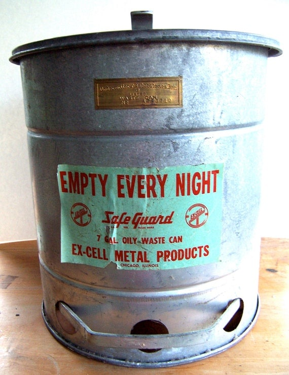 Vintage Industrial Waste Basket -- Metal Trash Bin with Foot Pedal