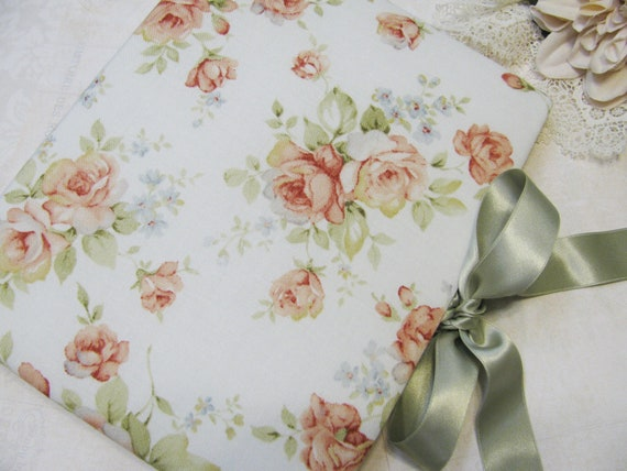 Shabby Cottage Chic Floral Fabric Covered Address Book - includes address pages
