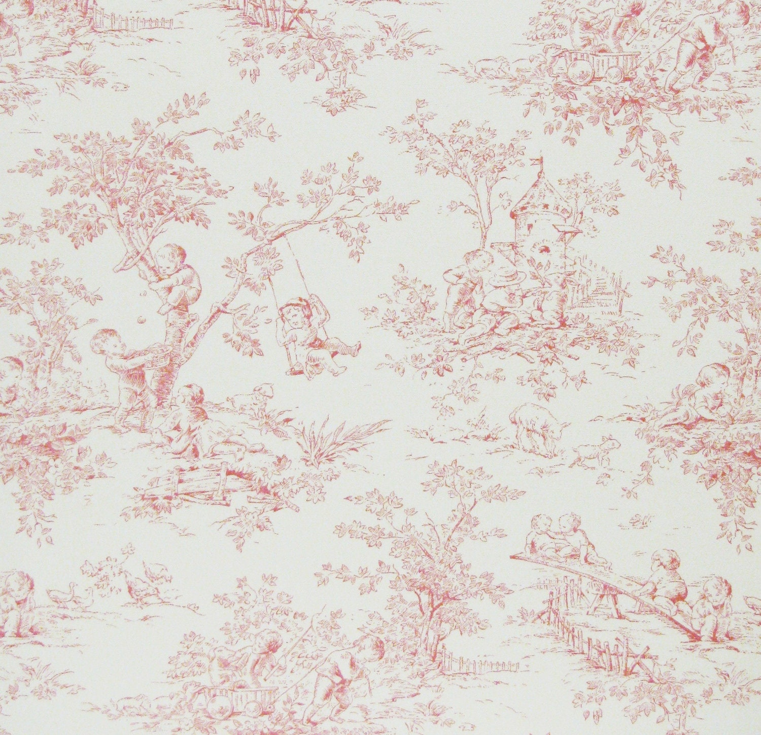 Central Park Pink Toile Fabric From P Kaufmann By The Yard