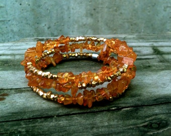 Clementine Wrap Bracelet / Amber with Silver or Gold