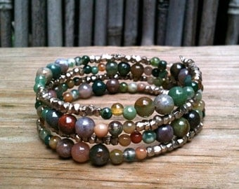 Alice Wrap Bracelet / Colorful Jasper & Gold or Silver Brass