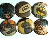 Batman Vintage Comic Book Pinback Button 6 pack
