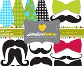 Party Mustache & Tie Clipart - 15 piece clipart set - COMMERCIAL USE Read Terms Below