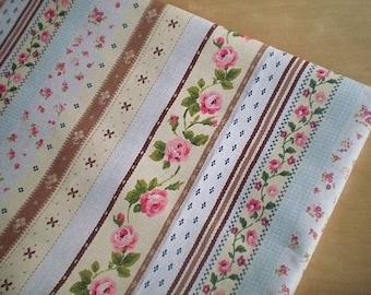LF081 - Linen Cotton Blended Fabric - Stripe - Rose - Brown  - 1/2  yard