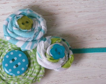 Aqua and Green rosette headband