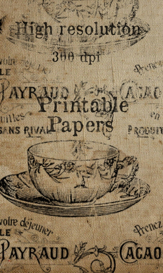 French Wrapping Paper Vintage giftwrap Antique Advertisement Tea Cup Sepia Printable Download Large File Digital Collage Sheet Burlap   l05