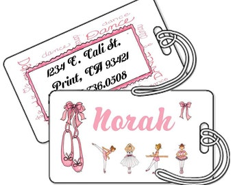 Set of 2 Personalized Shimmer Bag Tags Laminated - Ballet