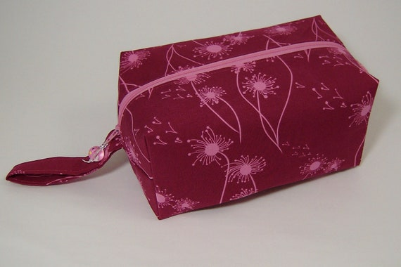 Small Zippered Project Bag - Pink Dandelions on the Wind