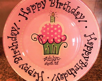 Birthday Cake Plate - Personalized Happy Birthday Plate - Hand Painted Plate - Special Occasion Plate - Personalized Kids Plate