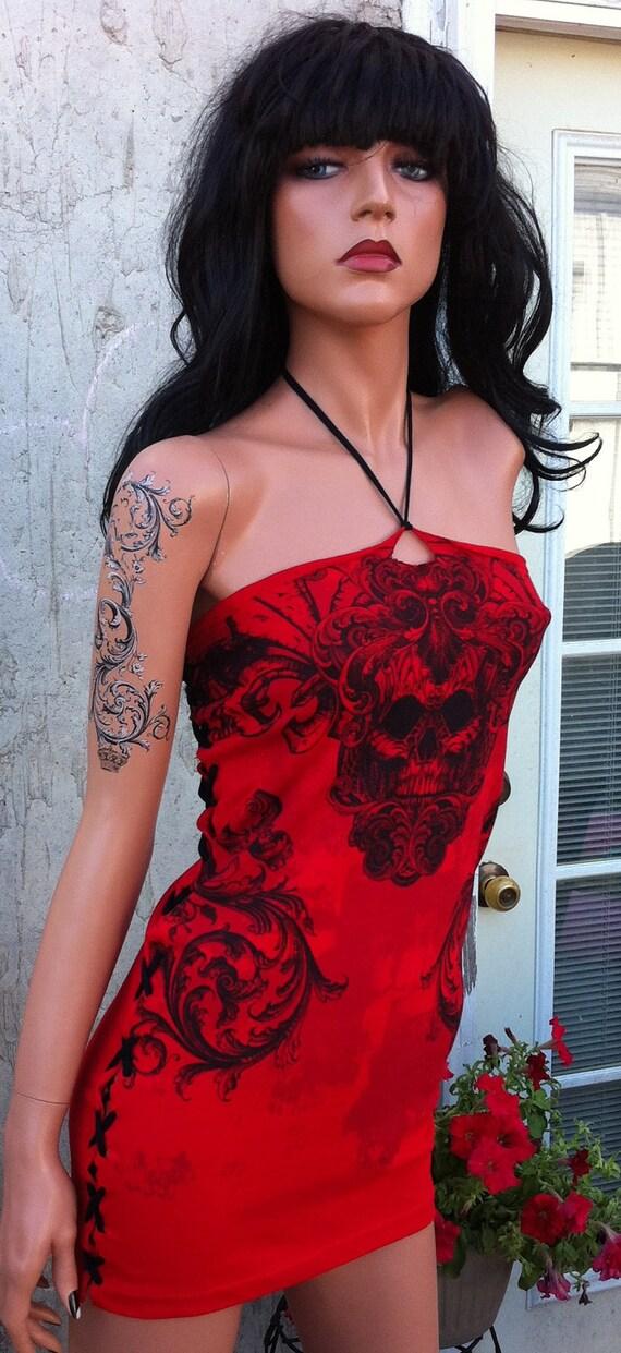 Red and Black Skull Corset Back Shredded Mini Dress Tunic