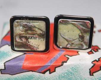Dinosaur Cufflinks // T.Rex and Triceratops//  Recycled textbook cufflinks
