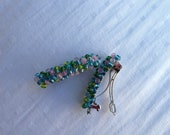 wire wrapped beaded barrette pair - spring hues pink blue green pastel