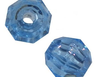 10mm Transparent Light Sapphire Faceted Beads - 144 Beads