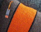 Cushion, Pillow, Hand Knitted, Wool, Orange, Tangerine, Brown, Tweed, Stripe, Black