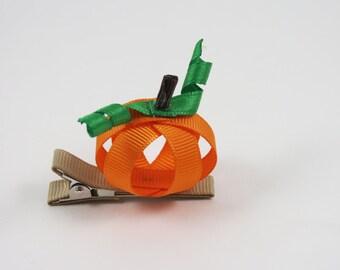 Halloween Pumpkin Hair Clip - Halloween Ribbon Sculpture - Pumpkin Hair Clip - Orange Hair Clip - Halloween Hair Bow