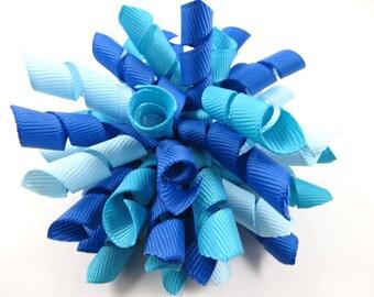 Blue Hair Bow - Blue Korker Bow - Blue Hair Clip - Korker Bow - Blue Hair Bow - Light Blue Hair Bow