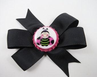 Ladybug Hair Bow - Pink and Black Hair Bow - Black Hair Bow - Small Hair Bow - Pink Ladybug Hair Bow