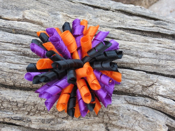 Purple Black Orange Hair Bow - Purple Korker Bow - Black Korker Bow - Orange Korker Bow - Small Korker Hair Clip