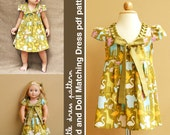 Stella Kid and Doll Matching Dress - PDF Pattern, PDF Downloadable, Easy Pattern