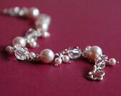 Bridesmaid jewelry, Pink pearl bracelet, Swarovski Crystal pearls, white crystals, bridesmaid gift