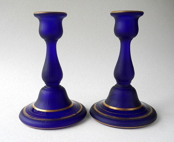 Vintage Cobalt Blue Satin Glass Candlestick Holders