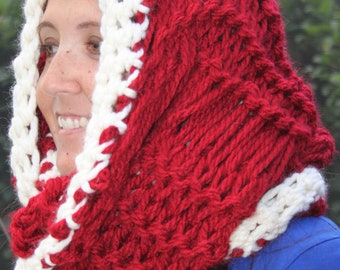 SALE Hand Knit Super Bulky Red  infinity CHRISTMAS scarf in super Bulky Yarn