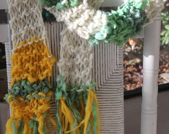 SALE Bulky Hand Knit Scarf in sparkly ivory, green and yellow  of Super Soft Handspun Hand Dyed Yarn