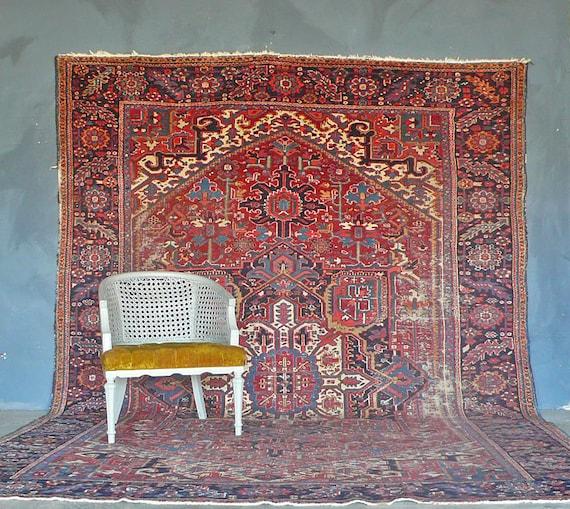Antique Persian Heriz Rug Bb2402: Antique Persian Heriz Rug. 1930s