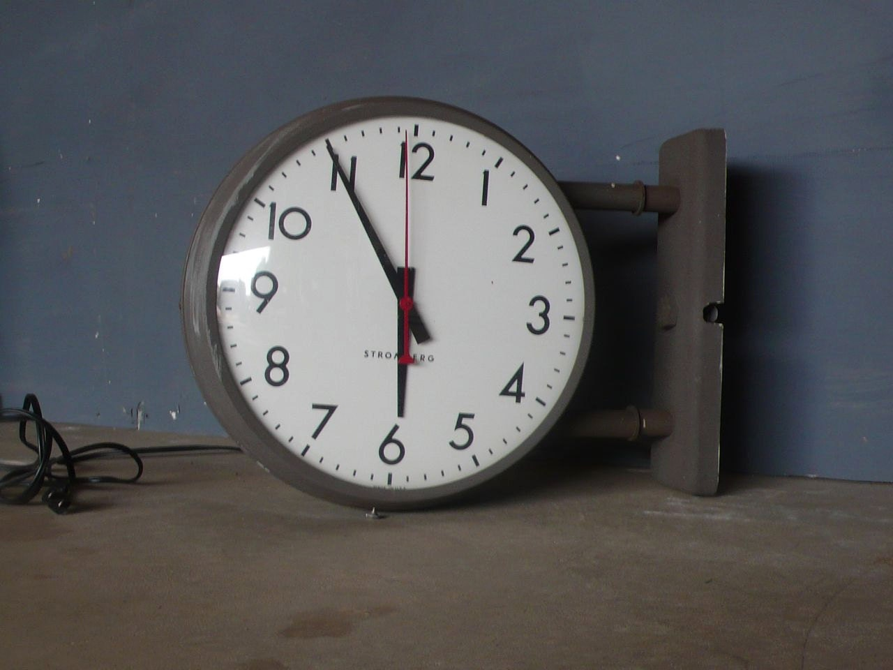vintage double sided two faced industrial wall clock by. Black Bedroom Furniture Sets. Home Design Ideas