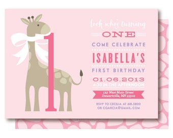Pink Giraffe Invitation, Girls First Birthday Invitations, Giraffe 1st Birthday Party, Printable or Printed