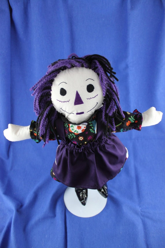 Ready to ship Goth Raggedy Ann style doll Black and purple - Special!