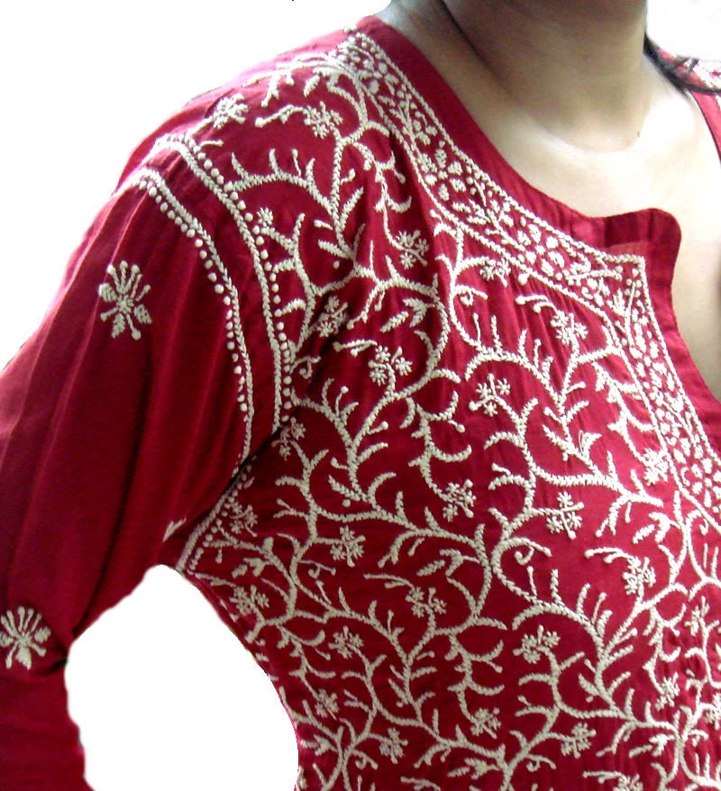 Red indian hand embroidered kurta tunic womens kameez