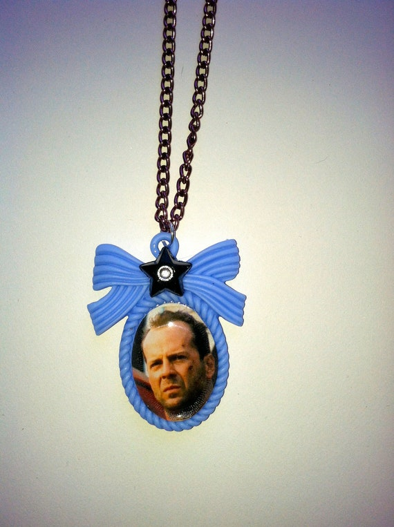 HOT Bruce Willis Necklace on light blue cameo with bow. black star with Crystal. Maroon Metal aluminum Chain Die Hard