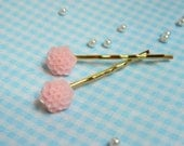 Pair of Flower Cabochon Bobby Pin Pastel Pink Mum on Gold Perfect for Spring
