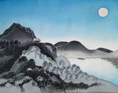 Original Painting on Silk - NIGHT - Cold batik. Free shipping. MADE TO OrDeR Japanese landscape