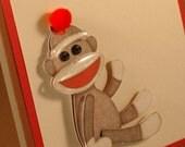 Sock Monkey Card, birthday card children, kids birthday card