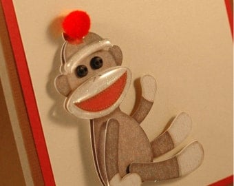 Sock Monkey Card, birthday card children, kids birthday card