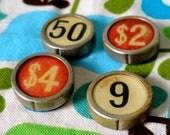 4 Vintage distressed National Cash register keys
