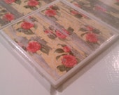 Shabby Chic Roses On The Fence Coasters Four Piece Ceramic Tile Set