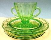 Vintage Uranium/Vaseline Green Depression Glass Set, Plate, Saucer, Cup set, Ice Cream Mug