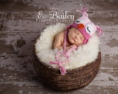 Sleepy owl Baby Hat Pink / Light Pink