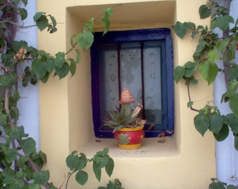 Blue summer photo print, greek islands, blue summer window, Kythira - greece, home decoration