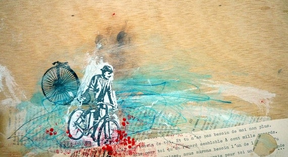 Bicycle art collage and painting on wood