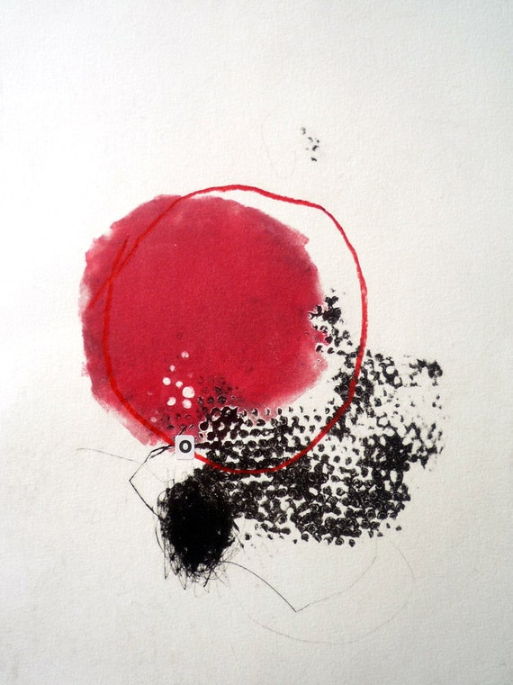Monoprint with red circle