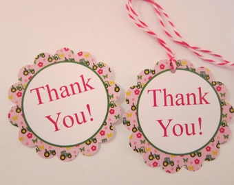 Pink & Green Tractor Flower Thank You Party Favor Tags