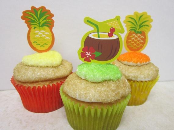 12 Luau Tropical Drink Flexi-pick Cupcake Toppers Cupcake ...