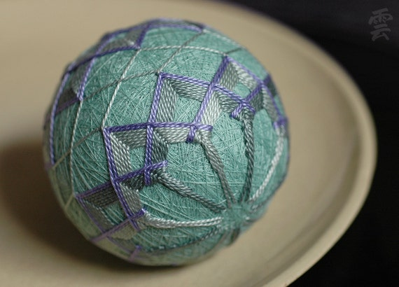 imagination needs... - Japanese temari - zen home decor ornament - celadon seafoam green embroidery - crafting for a cause