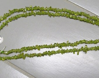 "sale  1/2 off  35""  PERIDOT CHIP NECKLACE"