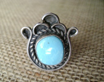 SALE -- Vintage Sterling Silver and Turquoise Ring in Lotus Flower setting, Native American ring